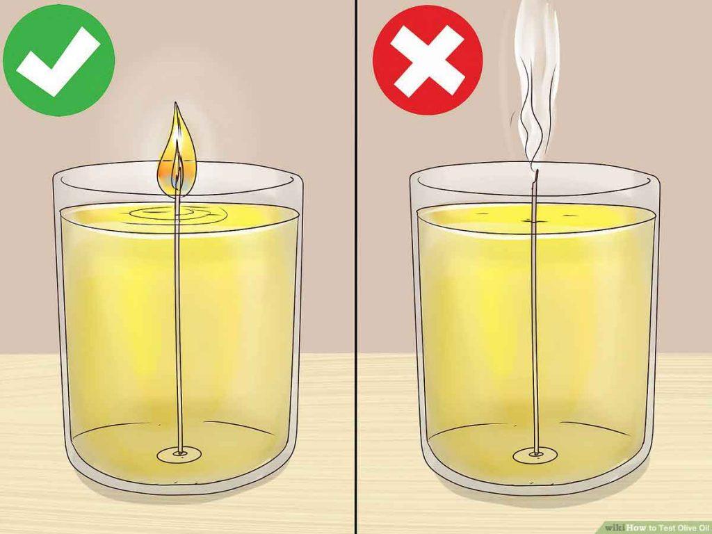 یکی از راههای تشخیص روغن زیتون اصل انجام آزمایش با فیتیله است.